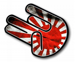 THE SHOCKER HAND With JDM Drift Style Rising Sun Flag Motif Vinyl Car Sticker decal stickerbomb 115x80mm